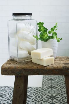 Love this vintage soap jar and reclaimed wood stool. Click through for eco bathroom ideas for plastic free and zero waste beauty you'll love Eco Bathroom, Natural Bathroom, Small Bathroom, Bathroom Ideas, Guys Bathroom, Spa Bathrooms, Bathroom Jars, Bathroom Black, Bathroom Showers