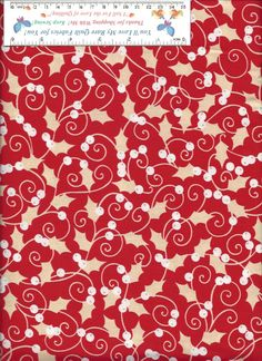 If this IS NOT LISTED in My Bonanza Booth, WRITE me and I will Make a SPECIAL Listing for You! (IF I still have this print available)  #KANVAS #Winter #Christmas #Holly Red Ground Pretty Little Holly, Berry, and Swirls Print