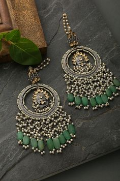 - Idika Green Silver Plated Kundan Inspired Pearl Chandbaalli Earrings Green Kundan inspired pearl c - Indian Jewelry Earrings, Indian Jewelry Sets, Jewelry Design Earrings, Ear Jewelry, Indian Accessories, Fashion Jewelry Necklaces, Designer Earrings, Jewelery, Antique Jewellery Designs