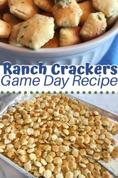 Ranch Oyster Crackers - SuperBowl Foods These Ranch Oyster Crackers are full of flavor and simply addicting! They're the perfect SuperBowl food appetizers that your guests will love. Just mix and bake! Best Appetizer Recipes, Snack Mix Recipes, Yummy Appetizers, Healthy Recipes, Healthy Food, Tailgate Appetizers, Ranch Oyster Crackers, Oyster Cracker Snack, Seasoned Crackers