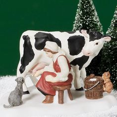 Dept 56 New England ~ Milking The Cow ~ Mint In Box 56683
