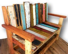 Reclaimed Wood Bench Rustic Wood Bench Salvaged by WoodzyShop Rustic Wood Bench, Reclaimed Wood Benches, Reclaimed Wood Furniture, Solid Wood Furniture, Rustic Furniture, Wood Pallets, Barn Wood, Painted Furniture, Pallet Wood