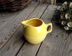 Lovely Small French Vintage Yellow Jug - Ceramic Pitcher - Vaissellerie du Sud Est - Made in France - Yellow Ceramic