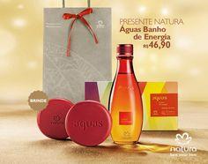 Presente Natura Águas Banho de Energia - Desodorante Colônia + Sabonete em Barra + Embalagem Desmontada