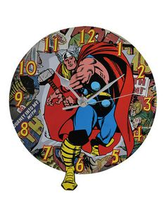 Time to save the world! Join the adventure with Thor and hang up this wall clock in a hero's bedroom—it's sure to inspire comic book dreams.