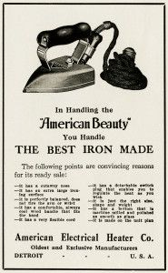 Free Vintage Image ~ American Beauty Iron Magazine Advertisement (black and white clip art version of the iron is also included in blog post).