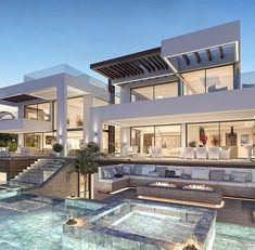Bungalow House Design, Modern House Design, Dream Home Design, My Dream Home, Luxury Homes Dream Houses, Dream House Exterior, Villa Design, California Homes, House Goals