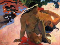 """Are You Jealous?"" 1892 • Puskhin Museum of Fine Art, Moscow • Paul Gauguin. Oil on canvas, 66 x 89 cm; 1st Tahiti period. Style: Cloisinnism."
