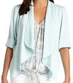 Love...Love...LOVE this Mint Green Color! Mint Green Bolero Jacket! Perfect draped layering piece for Winter into Spring over a pretty blouse or sleeveless dress! #beautiful #mint #mint_green #bolero_jacket #Spring #Summer #fashion