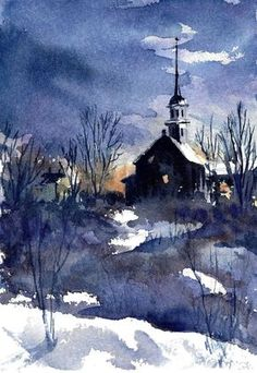 "*Watercolor - ""New England Church"" by Nita Leger Casey….that beautiful old church on North Road, eastern LI, on way to Greenport on snowy days Watercolor Landscape, Landscape Paintings, Watercolor Paintings, Watercolors, Encaustic Painting, Watercolor Pencils, Winter Painting, Winter Art, Top Imagem"