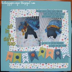 Layout Idea: 1) Sewing Machine stitching on banner  2) Buttons on banner  @happyscraps