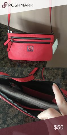 Faux leather Calvin Klein purse coral Super cute for when you only need to bring your essentials NEVER worn! Calvin Klein Bags