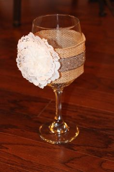 Shabby Chic Wedding Wine Glasses - country chic, burlap and lace, country wedding or party. via Etsy
