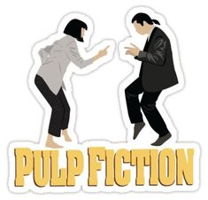 'Pulp Fiction ' Sticker by SparksGraphics Meme Stickers, Tumblr Stickers, Cool Stickers, Printable Stickers, Laptop Stickers, Pulp Fiction, Rick And Morty Stickers, Mia Wallace, Forrest Gump