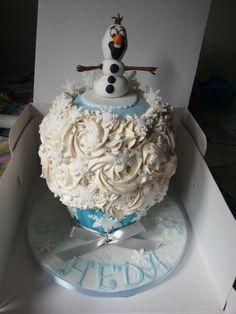 Olaf model topped giant cupcake, blue, white and silver sparkle 4th Birthday, Birthday Cakes, Birthday Ideas, Frozen Theme, Frozen Party, Snowflake Cake, Disney Desserts, Large Cupcake, Giant Cupcakes