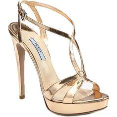 Taylor Swift wearing Prada Metallic Leather Platform Sandals