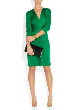 Issa | Ruched emerald silk-jersey dress | a girl can dream...