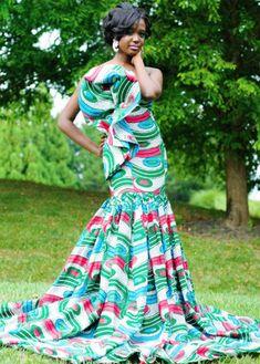 Robe de mariée pagne africain Robe De Soirée Africaine, Model Pagne Africain,  Robe Africaine