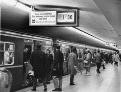 Here, you can see the TTC subway station circa 1969 as people get onboard a train. Canada North, Toronto Canada, Underground Tube, Canadian Things, Time Capsule, Public Transport, Ontario, Cities, Nostalgia