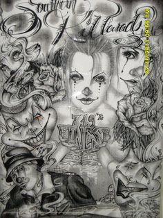 lowrider arte. chicano art. clowns. jokers.