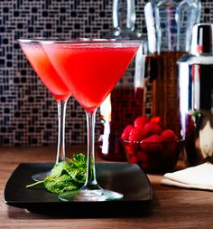 RaspberryMartini replace raspberries with pulp from two passion fruit and strain