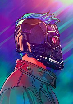 Illustration of Starlord and his AMAZING mask.  Ilustração do Starlord e sua…