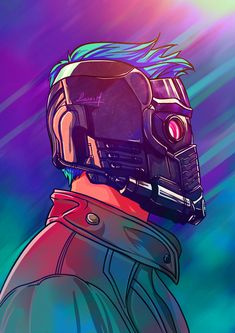 Illustration of Starlord and his AMAZING mask.  Ilustração do Starlord e sua…