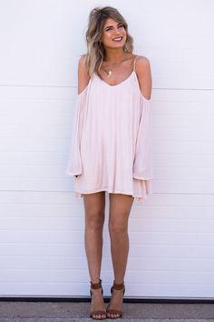 Lora Off Shoulder Dress- Blush