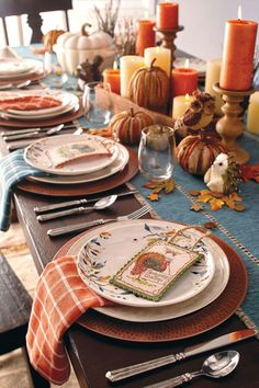 Cómo decorar la mesa en Acción de Gracias - Thanksgiving : setting thanksgiving table - pezcame.com