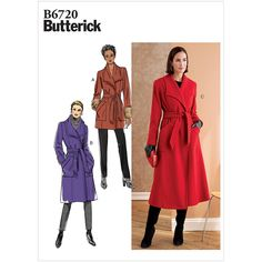 Misses and Misses Petite Coat and Belt Butterick Sewing Pattern 6720 from Sew Essential. Butterick Sewing Patterns, Coat Pattern Sewing, Dressmaking Fabric, Belted Coat, Lining Fabric, Work Attire, Clothing Patterns, Wool Blend, Tweed