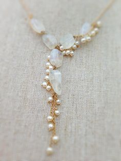 Rainbow moonstone and freshwater pearl by KimBloombergDesigns, $304.70