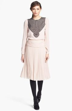 Pink blush dress pleated skirt & black lace { tory burch / nordstrom }