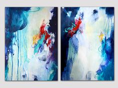 2 parts original abstract paintings on paper, acrylic painting, modern paper artwork, deep blue turquoise painting, colorful art, bold color