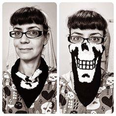 Patrones Crochet: Cuello Bufanda Crochet Calavera Halloween