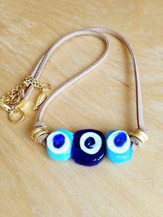Blue Evil Eye Necklace  Handmade Glass Evil Eye by KEYYISE on Etsy, $32.00 only one!