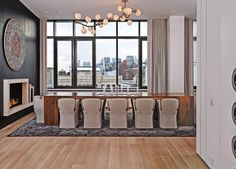 Dining - modern - Dining Room - New York - d'apostrophe design, inc. Commercial Interior Design, Modern Interior Design, Interior Architecture, Luxury Interior, Dining Table Design, Modern Dining Table, Fine Dining, Dining Room Fireplace, Dining Rooms