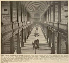 The Long Room, in the Trinity College Library, located in Dublin. The photo is from the book, Ireland in Pictures, and dated Trinity Library, Trinity College Dublin, Antique Photos, Vintage Photographs, Vintage Photos, World Library, Dream Library, Places Around The World, Around The Worlds