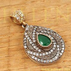 Hurrem Sultan Pendant  Drop Shape Emerald Color by helenfinejewels