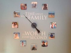 Beautiful #uppercaseliving #familyclock uses #photo #coasters from #Shutterfly instead of #picture #frames.  #sopretty #ultorreh #clock #unique