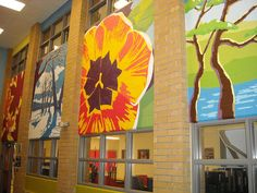Silver Stream P. - Library - Four Seasons Mural - FULL VIEW. Hand painted murals on cider block walls with latex paint. Block Wall, Mural Painting, Four Seasons, Wall Murals, Latex, Hand Painted, Eyfs, Pta, Silver