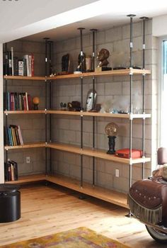 Built in industrial bookshelves