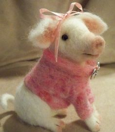 So cute needle felted pig