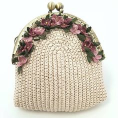 Hee Suh Song added a photo of their purchaseHydrangea crochet coin purse with wire frame, small beige pouch with tiny flowers.Light blue crochet coin purse with crocheted and painted hydrangea, crochet art, unique giftCrochet art toys crochet and tex Crochet Shaw, Crochet Art, Crochet Gifts, Crochet Flowers, Crochet Patterns, Crochet Ideas, Crochet Wallet, Crochet Coin Purse, Crochet Purses
