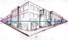 perspektive mit 2 fluchtpunkten futuristisches geb ude unterricht perspektive pinterest. Black Bedroom Furniture Sets. Home Design Ideas