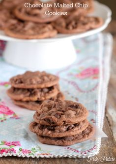 Chocolate Malted Chip Cookies!  Chewy, malted and irresistible!