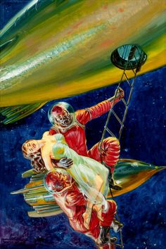 So, the guys need spacesuits, but the maiden in distress gets by with a sheer dress?