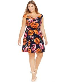 Soprano Plus Size Floral-Print Fit-and-Flare Dress-$34.99