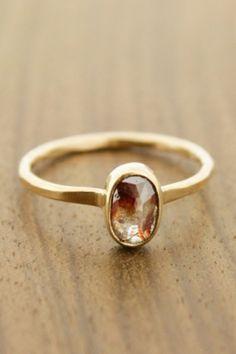 Red rutilated diamond ring