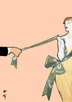 Fashion illustration by Rene Gruau, 1950.