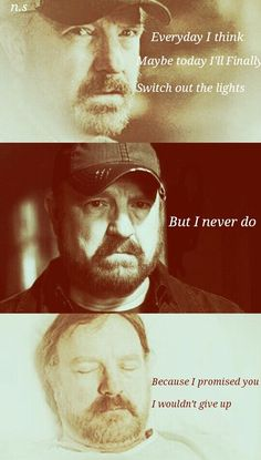 Supernatural ~ Bobby Singer - Everyday I think maybe today I'll finally switch out the lights. But I never do, because I promised you I wouldn't give up. Bobby Singer Supernatural, Supernatural Bloopers, Supernatural Tattoo, Supernatural Wallpaper, Supernatural Quotes, Supernatural Fandom, Sherlock Quotes, Sherlock John, Sherlock Holmes
